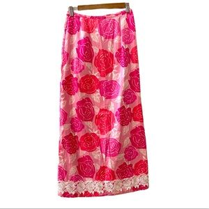 Lilly Pulitzer Beauty pink floral maxi skirt 2
